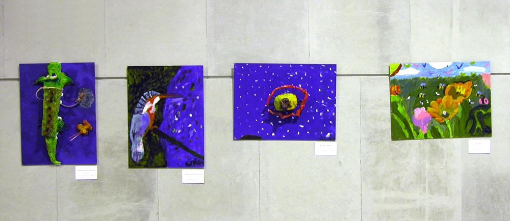 Obras de alumnos con diferentes técnicas. (Pintura tridimensional con modelado en arcilla, y pinturas acrílicas sobre lienzo).