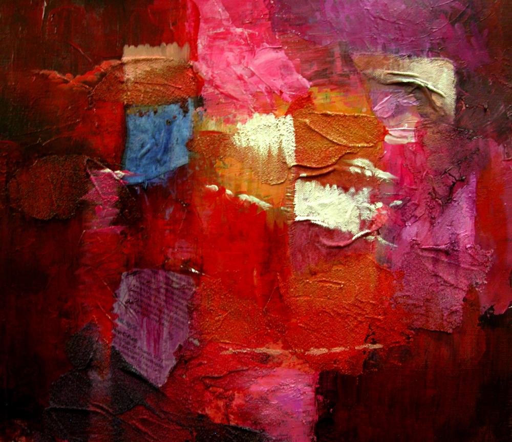 Técnica mixta. Acrílico y óleo sobre lienzo. Papel periódico y telas pegadas, con texturas de creta y polvo de mármol.